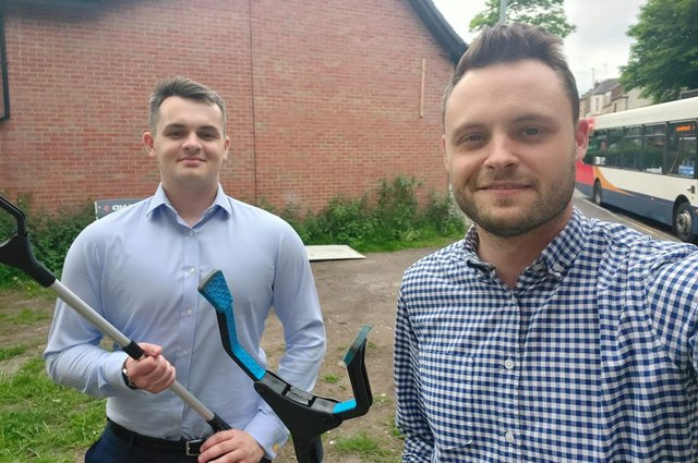 Mansfield MP Ben Bradley, right, with University of Nottingham student, Tom Mobbs, who was shadowing him for the day