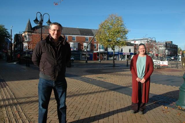 Councillor Matthew Relf and councillor Samantha Deakin in Sutton town centre.