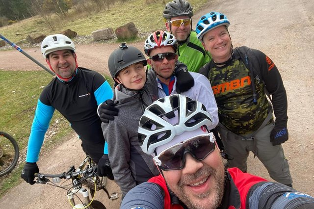 Some of Adam Richmond's friends on a training ride in preparation for their big C2C cycling challenge this week.