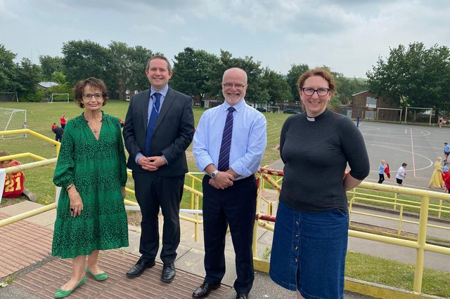 The new Diocesan Director of Education for Southwell & Nottingham, Nigel Frith, (second from the right) visited St Peter's CofE Primary Academy Mansfield last Friday