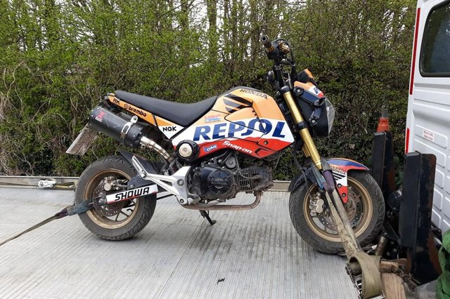 A bike seized with no insurance during the police operation in Ashfield on Sunday.