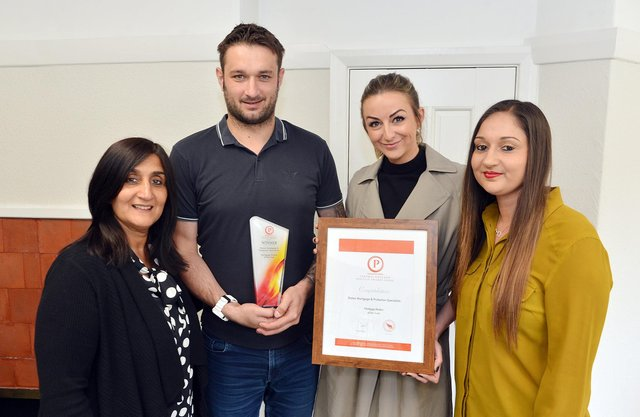 Staton Mortgages staff members, from left,  Dilj Lane, directors Mike Staton and Clare Sheffield, and Nikita Lane celebrate their award success.