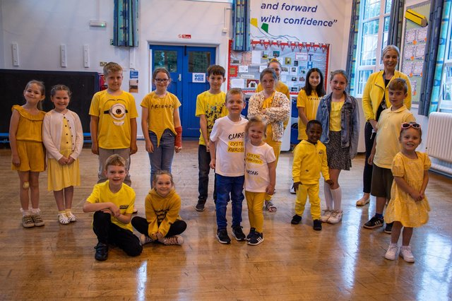 Staff, Parents and children all wore yellow to support the Bilsthorpe Flying High Academy's fundraising for the Cystic Fibrosis Trust