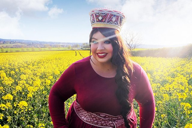 Plus-size Mansfield beauty queen Madara Riley in Latvian costume.