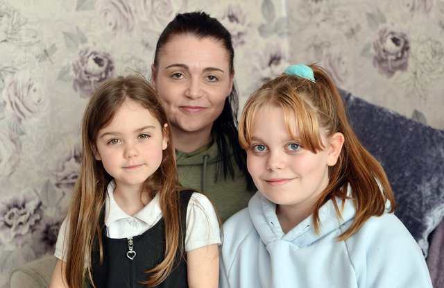 Mum Claire Hannah, who is able to spend happy days again with her two daughters, Ella-Grace, 10, and Louise, five.