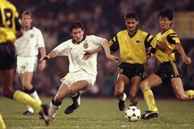 Nigel Clough in action for England against Malaysia in 1991.