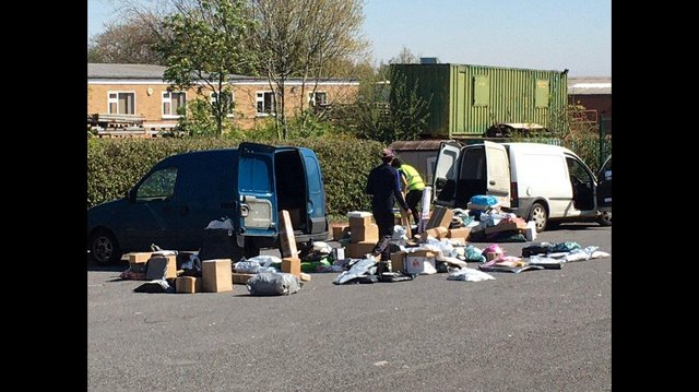 A picture taken from the Hermes Mansfield depot shows parcels scattered on the ground outside.