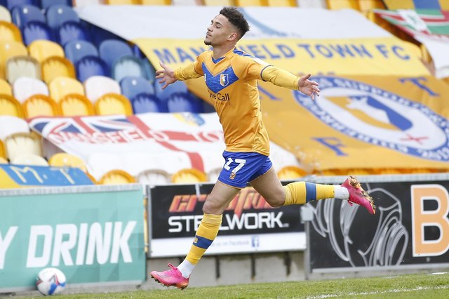 Tyrese Sinclair celebrates his goal last weekend - but he and others could have had more.
