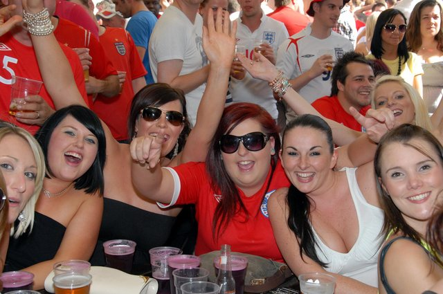 Fans watch the England v Slovenia 2010 World Cup game at The Swan in Mansfield.