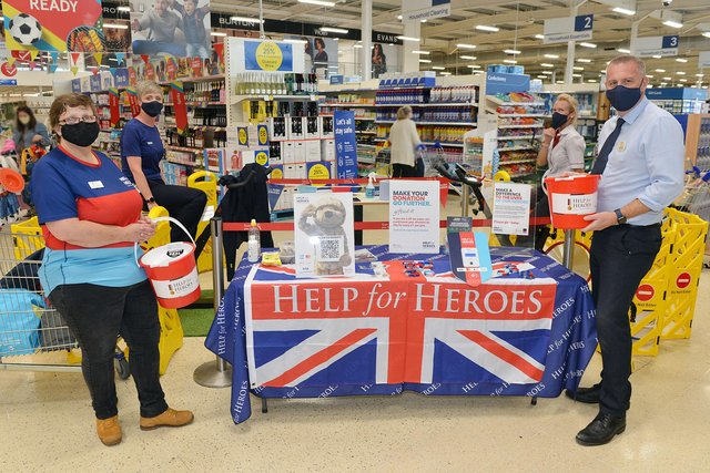 Staff at Tesco, Jubilee Way South, Oak Tree Lane, Mansfield raise money for Help for Heroes as part of the Armed Forces weekend.