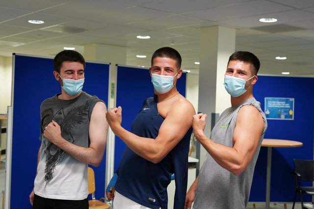 Brothers Ben, Mikey and Joe Fleet-Chapman at King's Mill Hospital's Vaccination Hub. Photo Sherwood Forest Hospitals