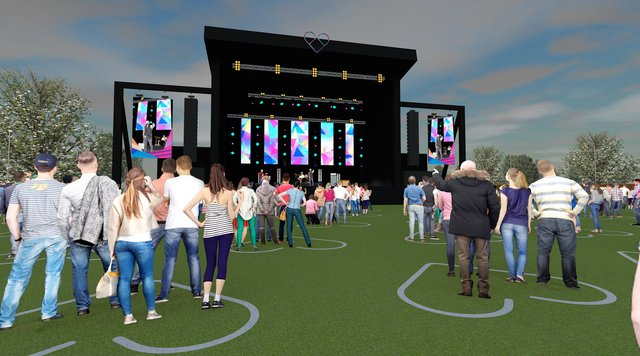 An artist's impression of the newly designed festival site for Unlocked Fest.