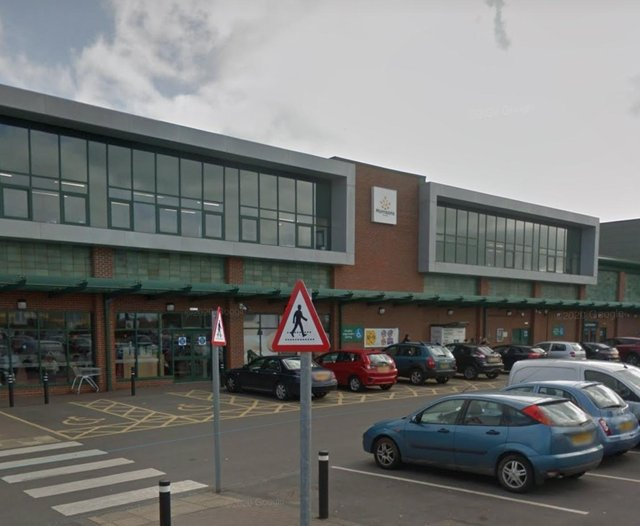 A large section of the glass canopy crashed to the floor at Kirkby Morrisons this morning.