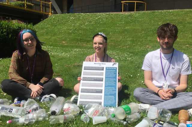 Jessica Jones, Jessica Combe and Connor Baugh with the poster about how to Save Our Seas