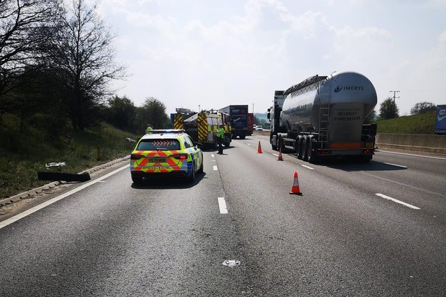The M1 is closed in both directions from junction 29 near to Mansfield to junction 29A due to fallen power lines.
