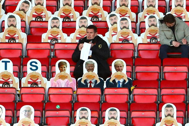 Mansfield Town Manager Nigel Clough during the Scottish Premiership match at New Douglas Park on Wednesday 21st April 2021. Photo courtesy of Dan Westwell.
