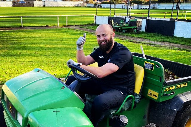 Glapwell chairman Jamie Wajs getting the Hall Corner ground ready for a return to action.
