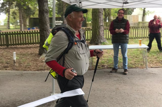 David Huxley crossing the finishing line at Walesby Forest