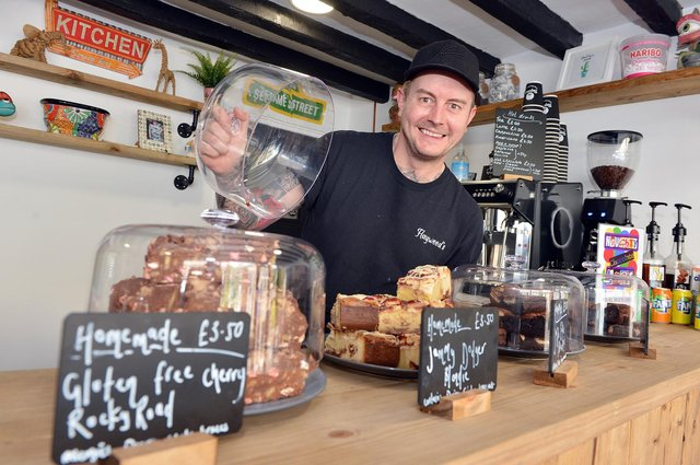 Owner Paul Haywood with a selection of some of his new bakes.