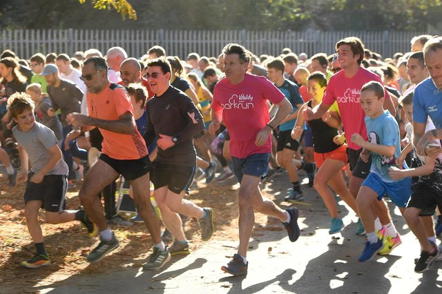 Olympic legend Seb Coe and his son Harry Coe join hundreds of runners at a parkrun. (Photo by Ian Gavan/Getty Images for Vitality)