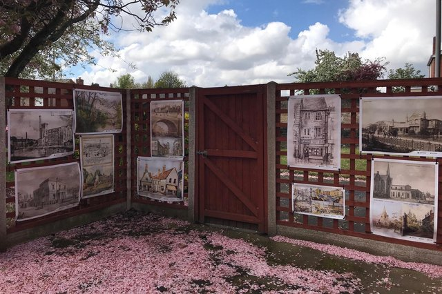 Some of the Forgotten Frames posters displayed in the court yard area at Vale Court