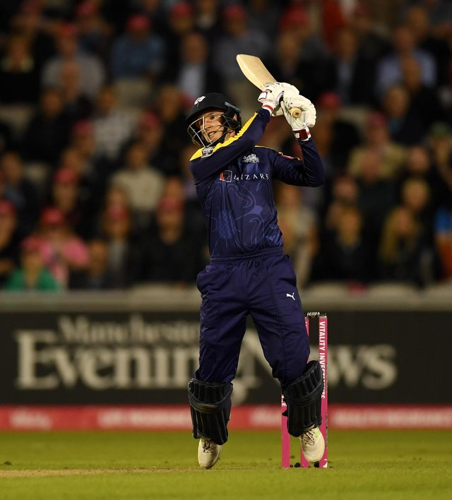 Joe Root top-scored with 49 off 36 balls. (Photo by Gareth Copley/Getty Images)