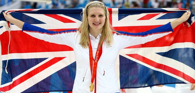 Gold medalist Rebecca Adlington poses during the medal ceremony for the 800m Freestyle Final during Day 8 of the Beijing 2008 Olympic.