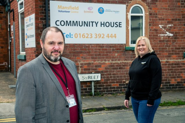 Steve Morris of Mansfield Community and Voluntary Service, with Laura Levitt from Amazon.