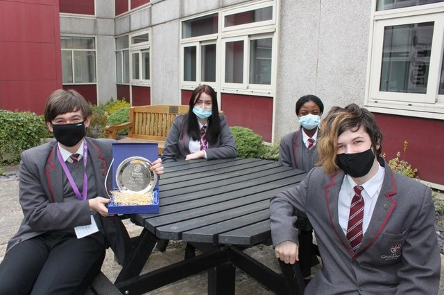 Pictured are Garibaldi School pupils Alex Burrows, Lehana Norman, Temiloluwa Egberongbe and Kieran Thompson.