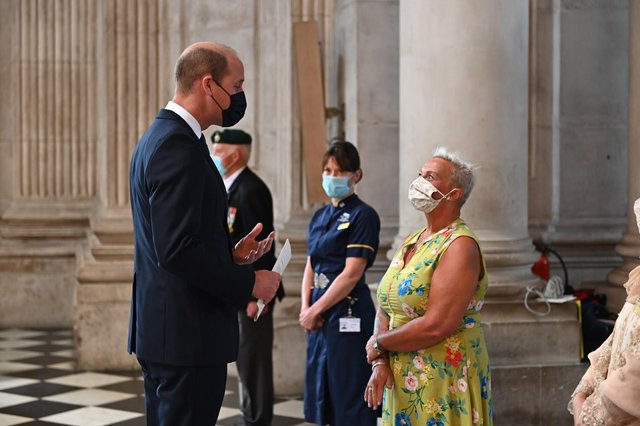 Diane Caunt, with HRH Prince William at the service at St Paul's Cathedral