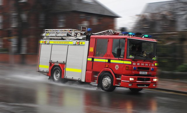 Mansfield firefighters tackled an electrical fire in a vehicle in the town on Thursday morning.      Fire engine  .