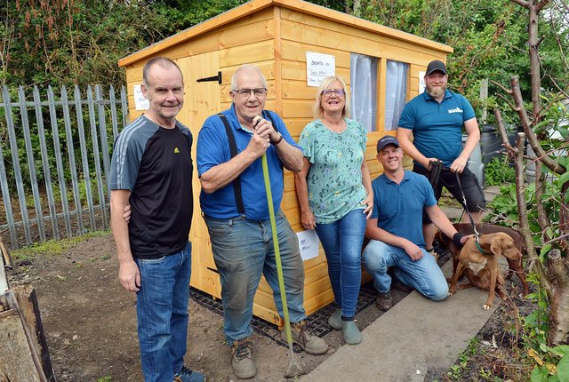 Allotment owners Bill Horan, George Bryan and Gill Brunt with Neil and Phil Ashmore from the Shed Brothers.