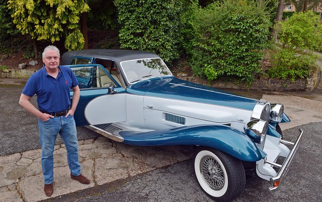 Car collector Peter Mayo with a Panther DeVille, similar to car he sold to the makers of Cruella.