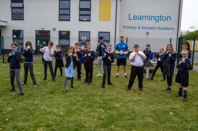 Boxer Leigh Wood visited Leamington Primary and Nursery Academy in Sutton.