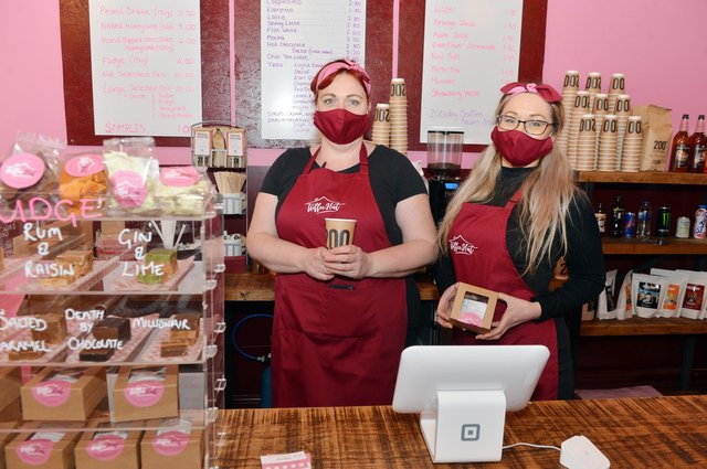 Toffee Hut owner Rachel Richards and Ashleigh Bramwell welcome back Project Doughnut on Saturday.
