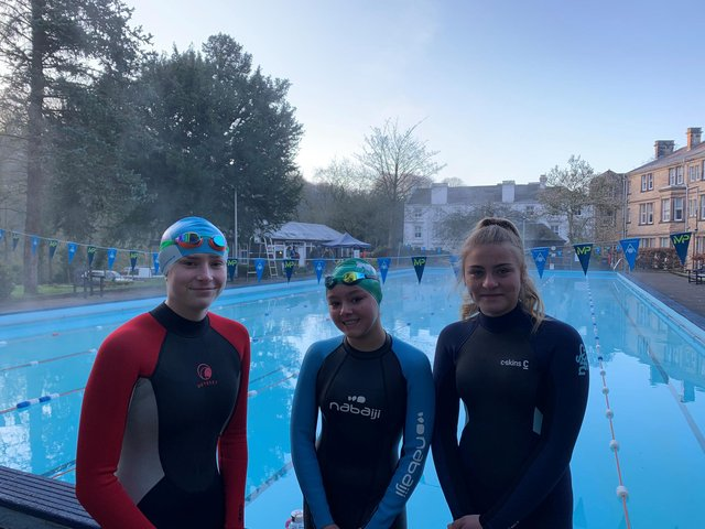 Nova Centurion swimmers Rebecca Darrington, Ruby Maiden and Freya Gibbons at the Matlock Bath pool.