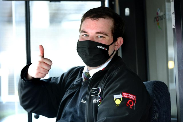 Thumbs up from Trentbarton team leader Sam Hollands as the company's services return to normal. (PHOTO BY: Lionel Heap)