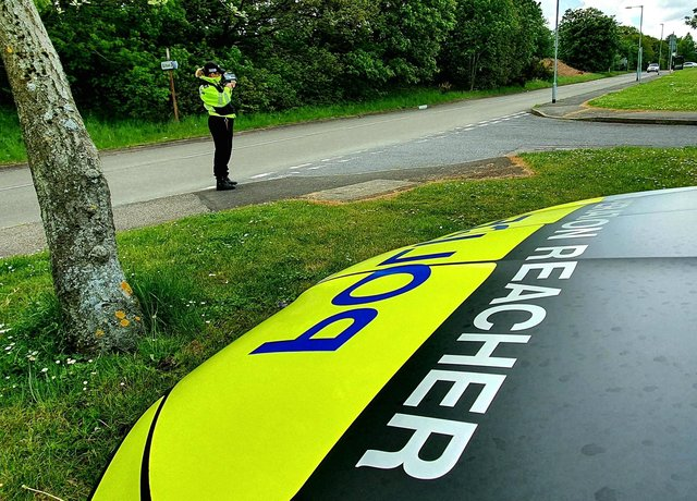 Officers from Mansfield's Operation Reacher teamcarried out speed checks on Wednesday outside the Oak Tree Children's Centre off Jubilee Way North. Photo: Notts Police/Facebook