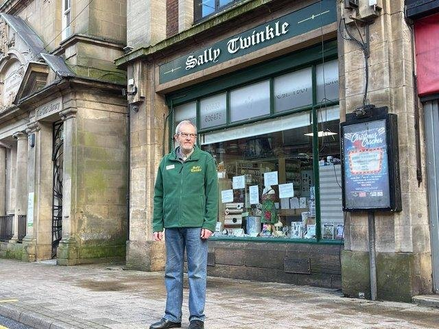 Retiring owner David Marriott outside historic Mansfield shop Sally Twinkle, which has been saved from closure.