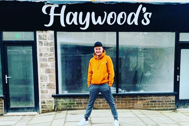 Paul outside his new premises on High Street in Mansfield Woodhouse during the refurbishment.