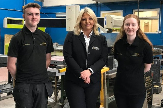 The three successful trainees at A.W. Lymn funeral directors, from left, Ethan Hickey,  Charis Bull and Isabel Walton
