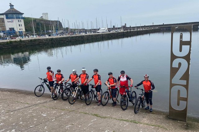 All ready for the off! The cyclists on the Cumbrian coast on day one of their 141-mile, three-day marathon to raise thousands of pounds for a cancer charity.