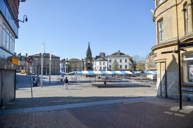 A deserted Mansfield town centre