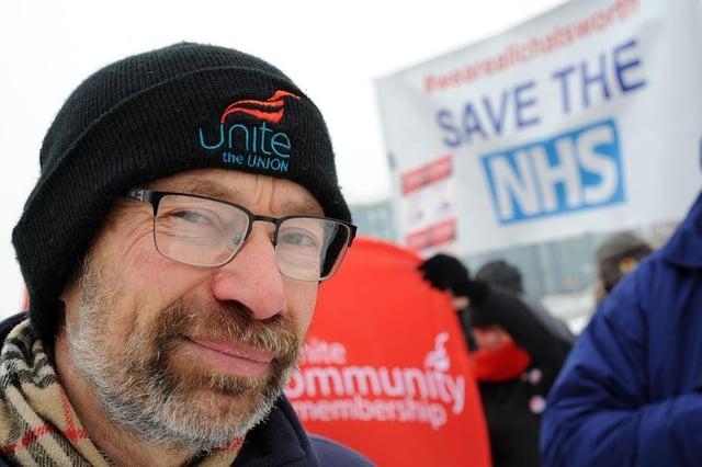 Jon Dale, 63, from the UniteNottinghamshire Health Branch.