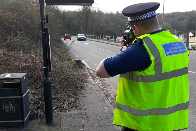 Kirkby police officers carried out an operation targeting speeding motorists in Annesley Cutting on Wednesday. Photo: Kirkby NPT/Notts Police/Facebook.