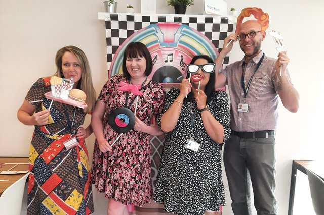 Tutors get into the party spirit at the end-of-year celebrations at West Notts College