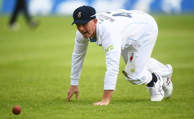 Ben McDermott fields the ball during another match to forget for Derbyshire. (Photo by Harry Trump/Getty Images)