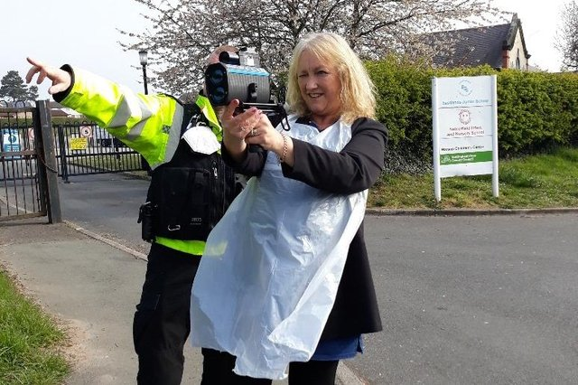 Eastlands Junior School principal Julie Richer with the police speed gun in Meden Vale. Photo: Nottinghamshire Police/Facebook.