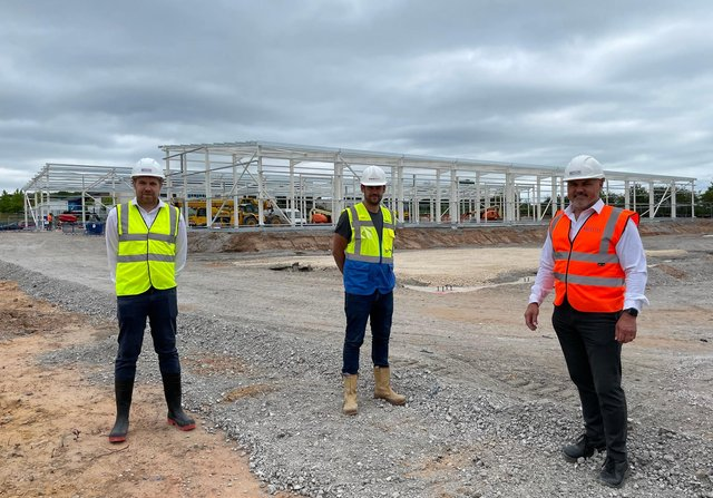 Stuart Waite, of CPP, Lee Buchahan, of Priority Space, and Shaun Hunt, of HG Sites, at Aria Park in Mansfield.