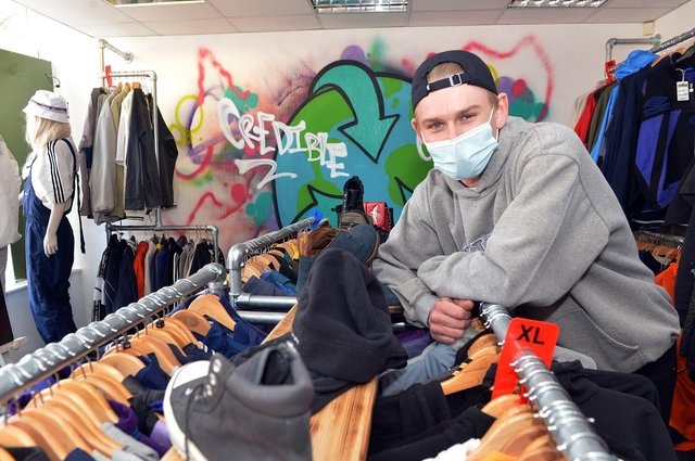 Owner Harry Squires at his new West Gate store, Credible Clothing.